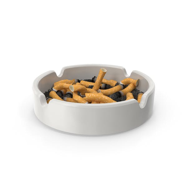 Porcelain Ashtray Filled with Ash and Cigarettes