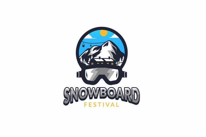 Thumbnail for Snowboard Skating Logo Template