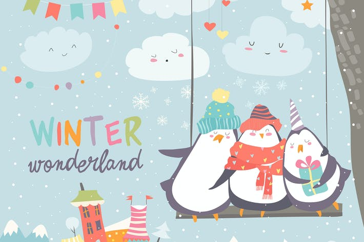Cover Image For Happy penguins swinging in winter park. Vector