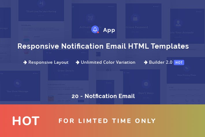 Thumbnail for NotificationApp - Responsive Notification Email HT