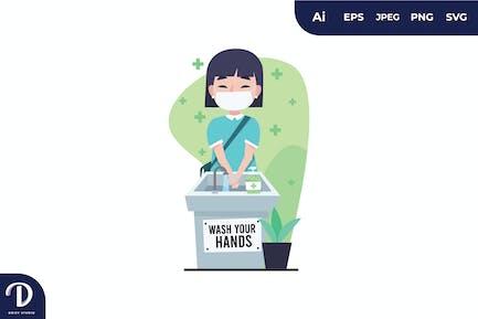 Mädchen waschen Handillustration