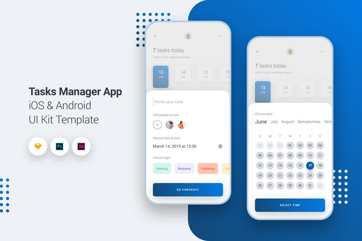 Thumbnail for Task Manager App iOS & Android UI Kit Template