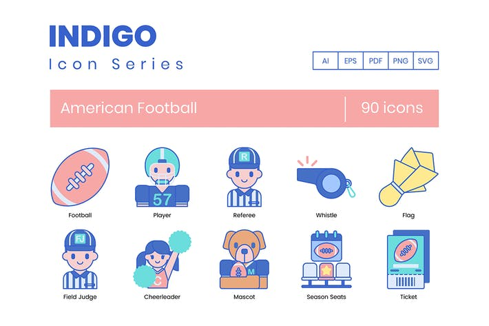 Thumbnail for 90 American Football Icons - Indigo Series