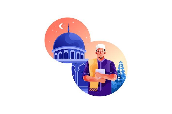 Muslime gehen in die Moschee und hält den Koran