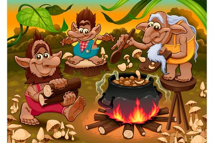 A Group of Gnomes Are cooking Mushroom Soup