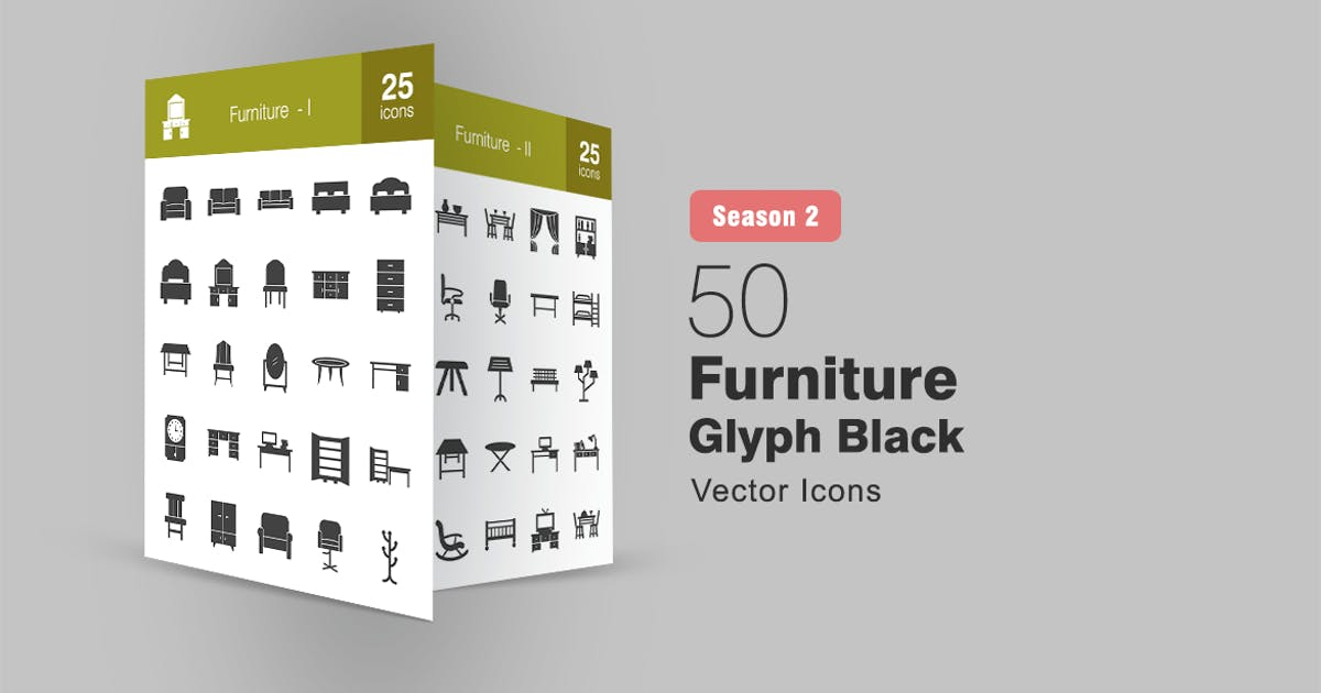 Download 50 Furniture Glyph Icons Season II by IconBunny