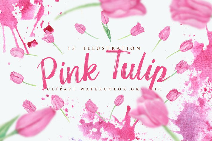 Thumbnail for 15 Watercolor Pink Tulip Flower Illustration
