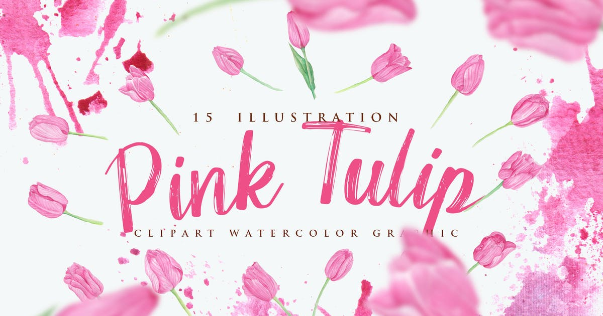 Download 15 Watercolor Pink Tulip Flower Illustration by aqrstudio
