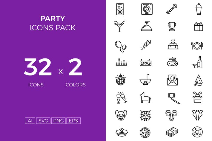 Thumbnail for Party icons pack