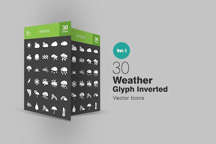 30 Wetterglyphe Inverted Icons