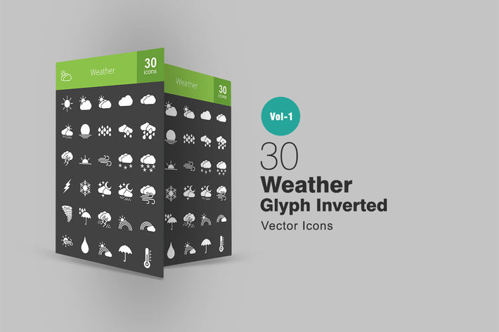 Thumbnail for 30 Weather Glyph Inverted Icons