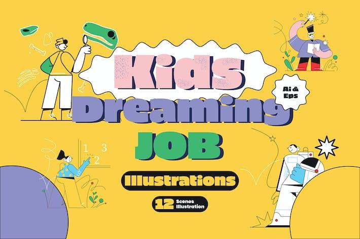 Thumbnail for Kids Dreaming Job Graphic Illustration
