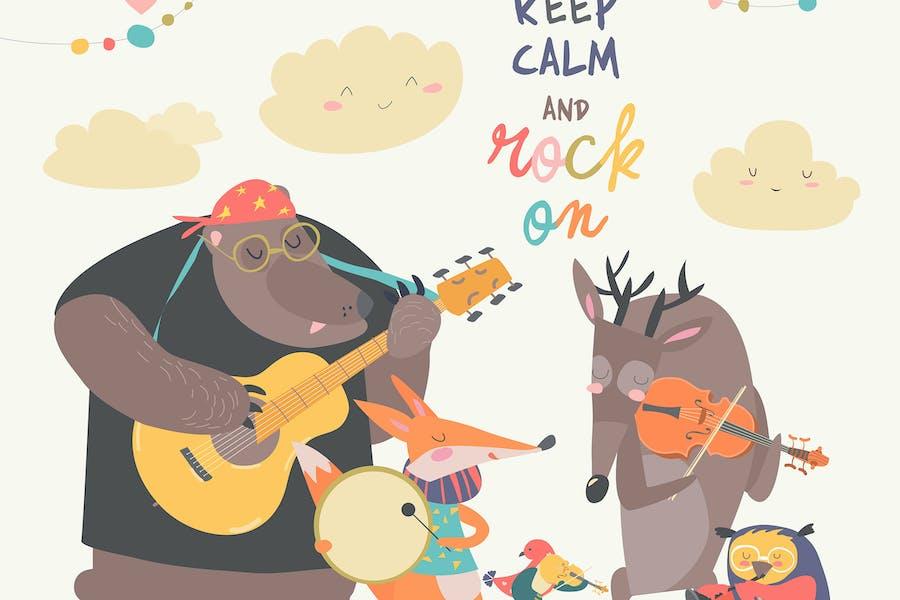 Bonita banda de música de animales. Animales Dibujos animados jugando