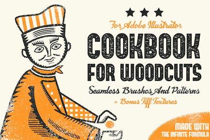 Libro de cocina para xilografías - Pinceles y Patrones