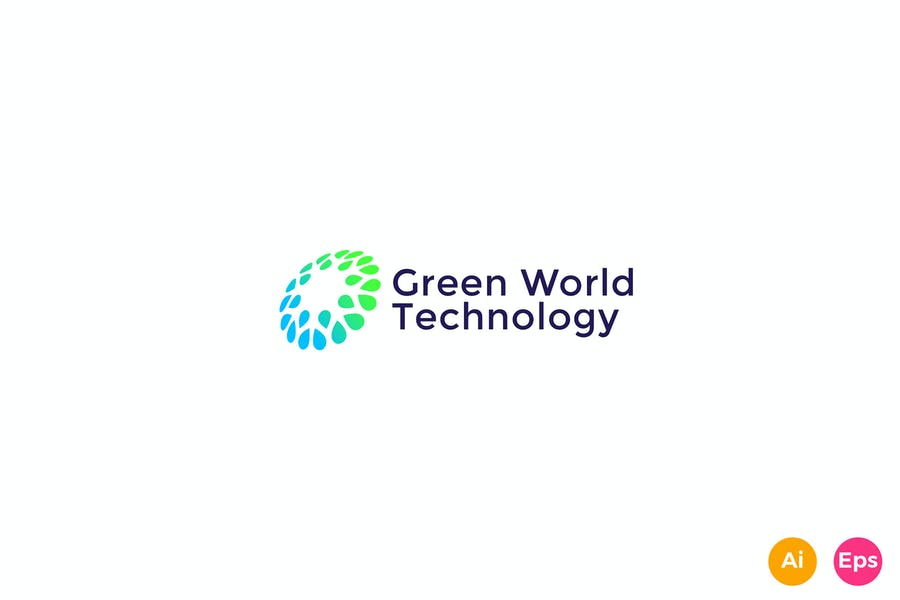 Green World Technology Community Logo template