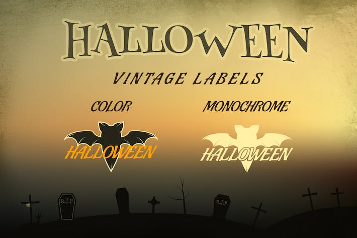 Thumbnail for Halloween Vintage Labels / Holiday Logo & Identity