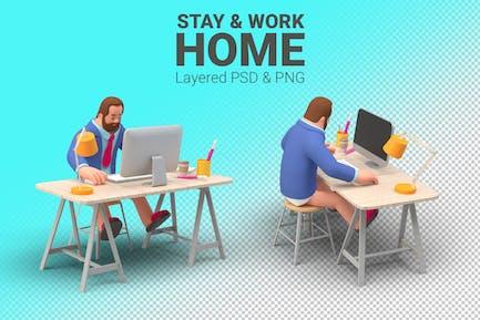 Arbeitsaufenthalt zu Hause Illustration Mann mit Computer