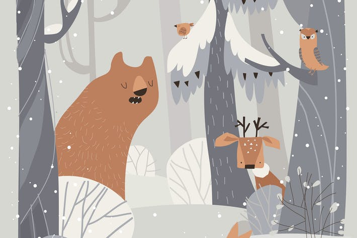 Thumbnail for Cartoon cute animals meeting winter in forest.