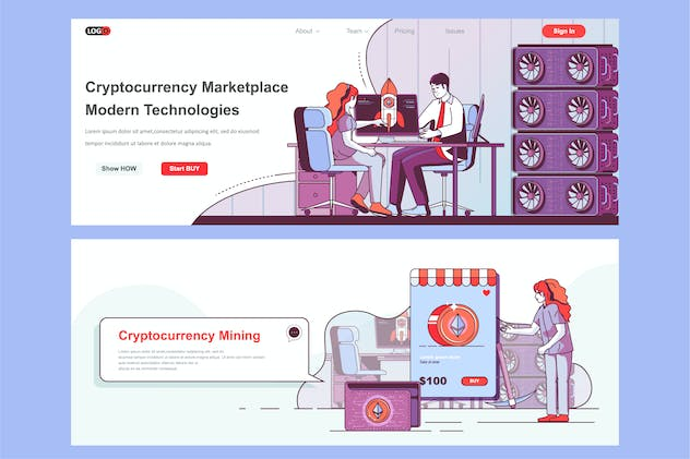 Crypto Marketplace Header Footer or Middle Content