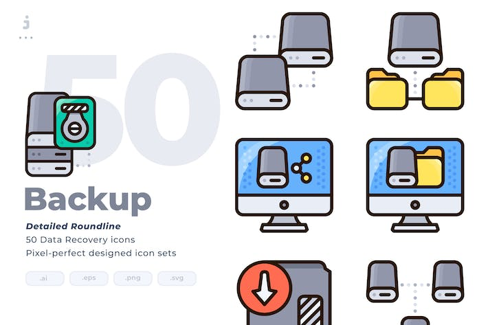 Cover Image For 50 Backup Icon set - Detailed Round line