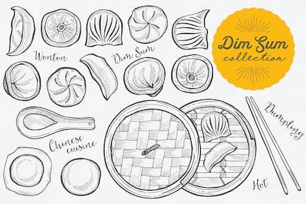 Asian Food Dim Sum Illustrations