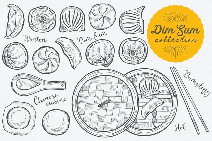 Thumbnail for Asiatisches Essen Dim Sum Illustrationen