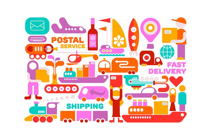 Cover Image For 2 options of Shipping Service vector illustration