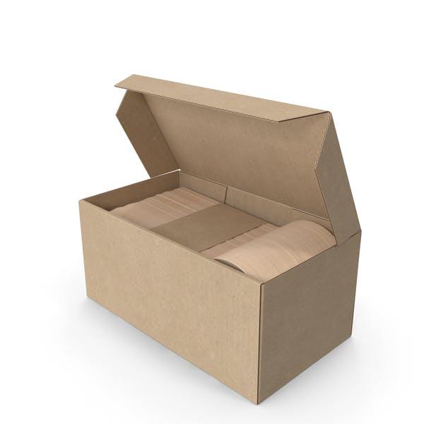 Cubertería de madera en una caja maqueta