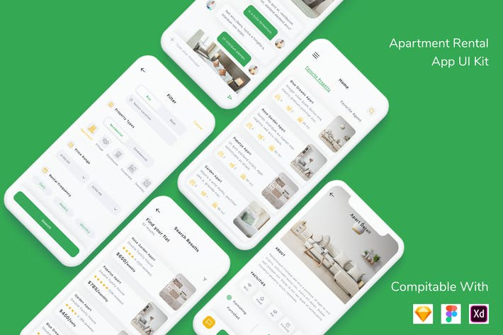 Cover Image For Apartment Rental App UI Kit