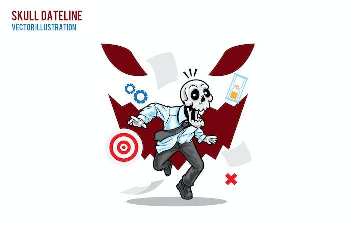 Skull Dateline Vector Illustration