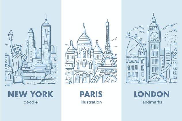 London, Paris, New York cityscapes with landmarks