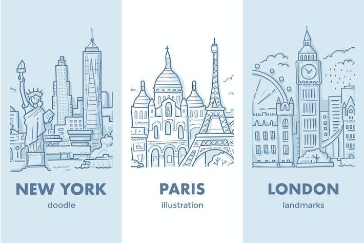 Thumbnail for London, Paris, New York Stadtansichten mit Sehenswürdigkeiten