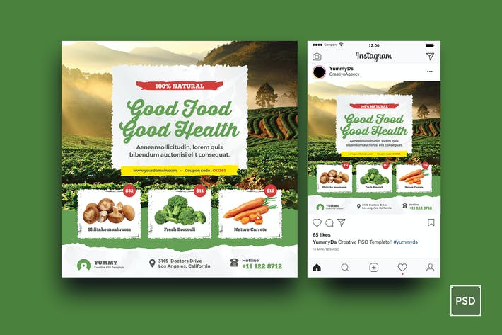 Thumbnail for Organic Market, Fresh Food Square Flyer