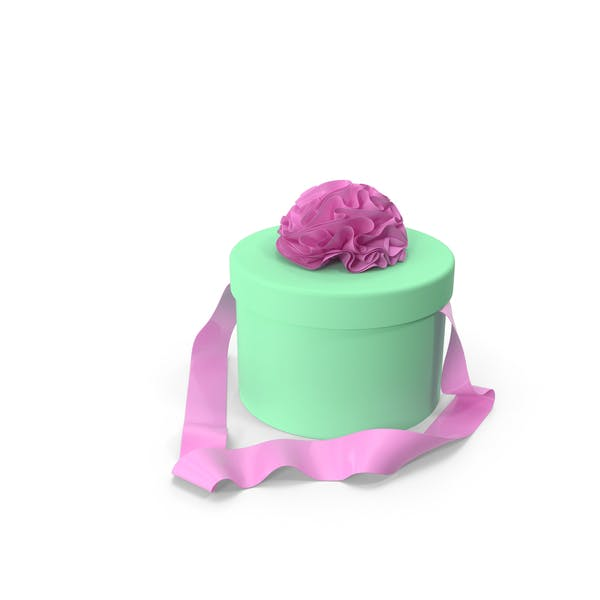 Green Round Box with Pink Ribbon