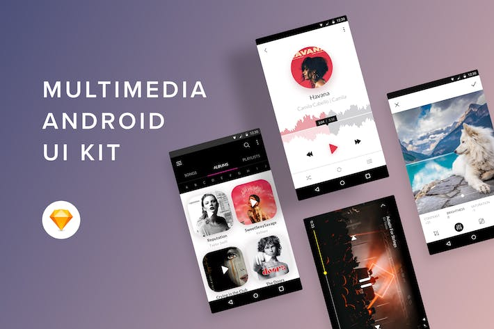 Thumbnail for Multimedia Android UI Kit (Sketch)