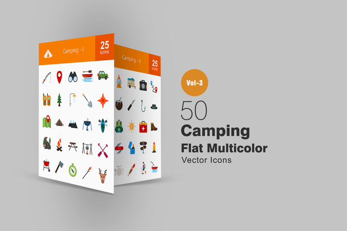 50 Camping Flat Multicolor Icons
