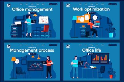 Modèle de page de destination Office Life Flat Concept