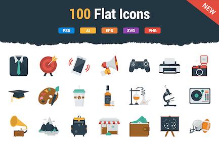 100 flache Icons