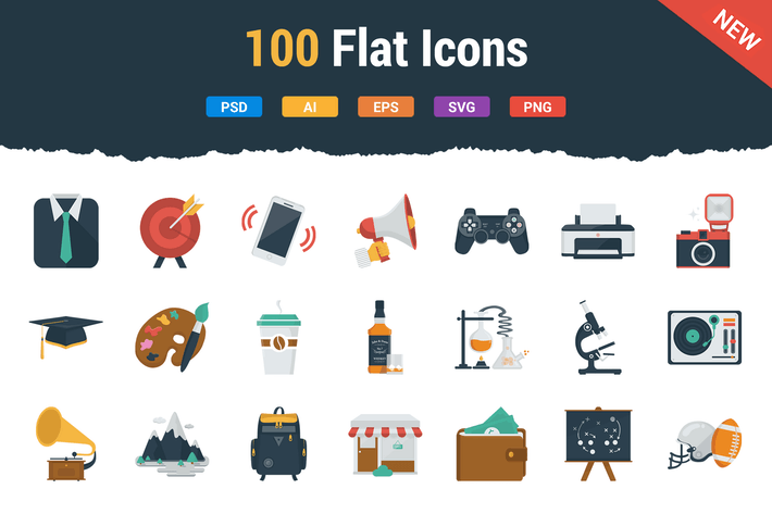 Thumbnail for 100 Flat Icons