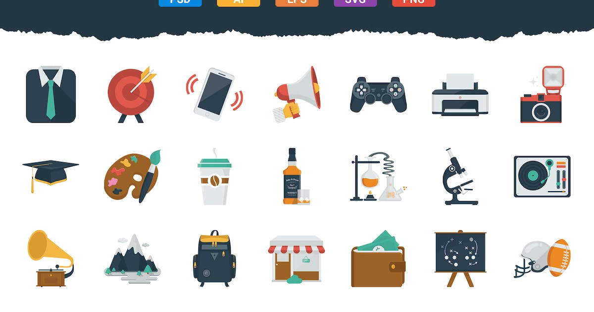 Download 100 Flat Icons by Krafted