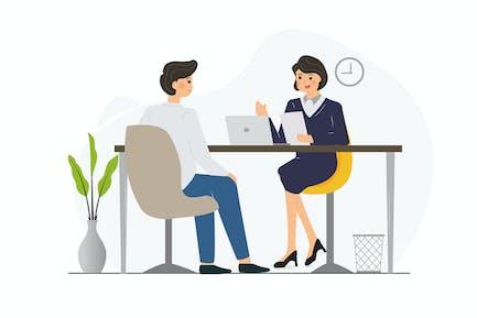 Job Interview - Vector Illustration