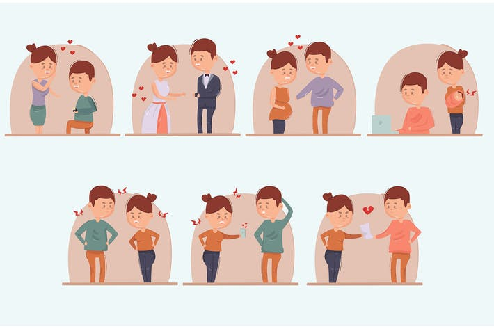 Karikatur Ehe Scheidung Illustration