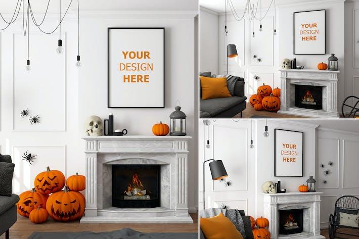 Thumbnail for Halloween Wall Frame Scene vol.01 - Mockup VR
