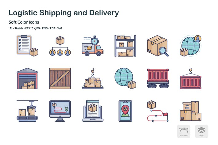 Thumbnail for Logistic shipping and delivery soft color icons