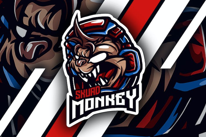 Thumbnail for monkey skuad - Mascot & Esport Logo