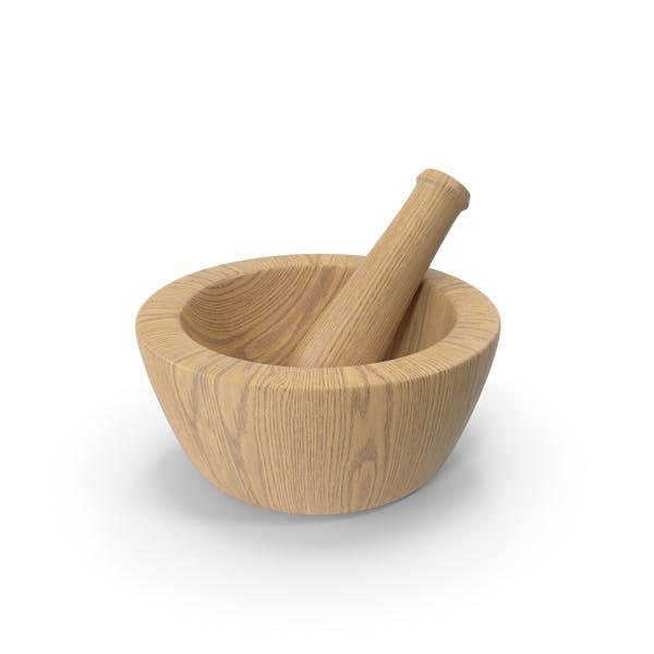 Mortero y mortero de madera