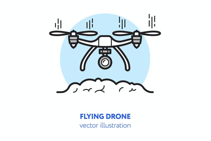 Thumbnail for Flying drone vector illustration