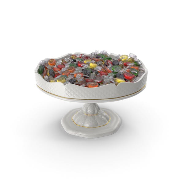 Fancy Porcelain Bowl with Wrapped Oval Hard Candy