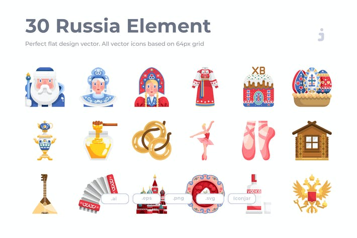 Thumbnail for 30 Russia Element Icons - Flat