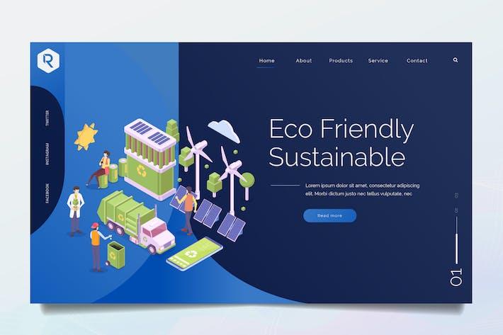 Thumbnail for Green Technology Isometric Web Header PSD & Vector